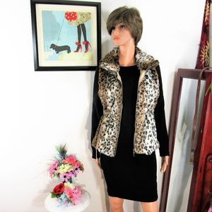 NEW! Vivid  Faux Snow Leopard Fur Zip Vest